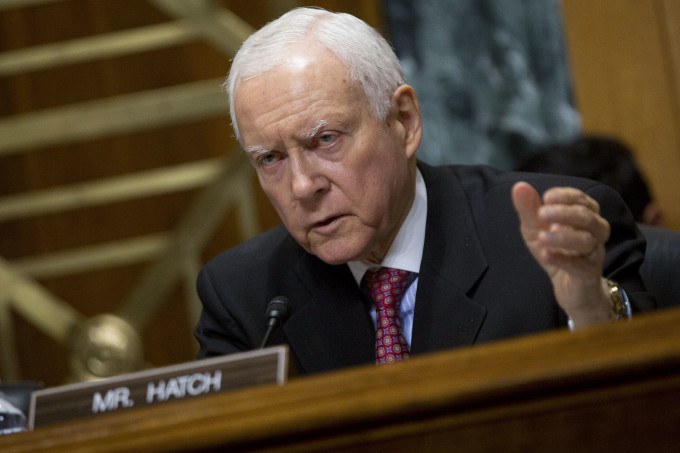Sen. Orrin Hatch, R-Utah, at a Senate hearing
