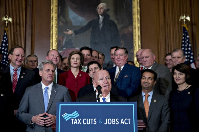 Ways and Means Chair Kevin Brady addresses a GOP press conference after the passage of the Tax Cuts and Jobs Act in the House.